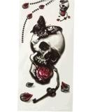 Etiqueta engomada temporal impermeable del tatuaje del modelo de moda del cráneo