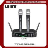 Microphone à canal double de radio de fréquence ultra-haute de Microphoe du karaoke Ls-P2
