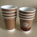 Copo de café dobro revestido do papel de paredes do PLA Kraft (YHC-132)
