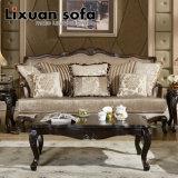 Clássico Tecido sofá antigo amor Cadeira de assento clássico jogo do sofá com moldura de madeira para sala