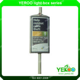 Calle poste de la visualización del anuncio del poste de la lámpara que hace publicidad de la publicidad de poste de la calle echada a un lado del doble de la tarjeta