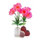 Vases à fleur acryliques en forme de coeur clairs de fabrication