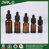 el cuentagotas de cristal cosmético ambarino del petróleo esencial de la botella de cristal de 5ml 10ml 15ml 20ml 30ml 50ml 100ml embotella la botella de petróleo esencial