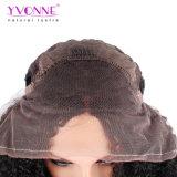 Yvonne 180% 조밀도 아프로 흑인 여성 브라질 Virgin 머리 자연적인 색깔을%s 꼬부라진 레이스 정면 사람의 모발 가발