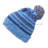 女性の冬Abヤーンのポンポンによって編まれる帽子の帽子