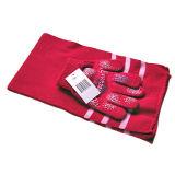줄무늬 뜨개질을 한 장갑 및 스카프 (JRI003)
