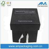 O empacotamento luxuoso do presente anunciou a caixa da vela do papel de embalagem Do cubo com tampa