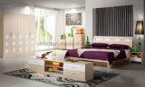 Tipo base europea de la talla del doble de madera sólida de la antigüedad (UL-LF007) de los muebles del dormitorio