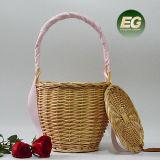 Handtas Van uitstekende kwaliteit van de Vrouwen van de Zakken van de Wandeling van de Mand van het Bamboe van de Zakken van de Verkoop van de fabriek de Directe Zuivere Met de hand gemaakte met Sjaals T113