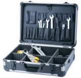 Caja de herramienta de aluminio con la paleta de la herramienta y el compartimiento ajustable