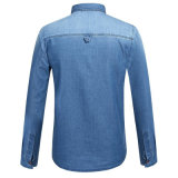 Chemises occasionnelles de Jean d'ajustement mince de mode de chemise de denim d'hommes d'OEM