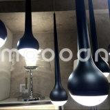 Indicatore luminoso di soffitto nero decorativo di goccia LED dell'acqua del metallo di disegno moderno