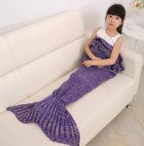 輝やきのピーク2016の新しく熱い子供ヤーンは人魚のテール毛布のハンドメイドのかぎ針編みの人魚毛布の投球のベッドのソファーの覆いの寝袋を編んだ