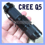 Mini-LED-Fackel CREE Q5 LED Klipp-Taschenlampe-justierbare Fokus-Summen-Blinken-Leuchte