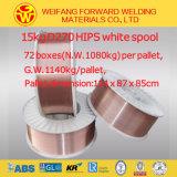 Fio de soldadura protegido 0.8 milímetro do MIG do fio de soldadura do CO2 do aço suave de Aws Er70s-6 gás revestido de cobre 1.0 milímetro 1.2mm
