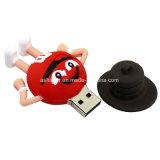 Mecanismo impulsor del flash del USB del PVC de la historieta de Thumbdrive del palillo del USB de la haba del chocolate