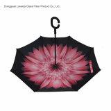 Upside-down, el paraguas invertido previene salpica, mojando con el marco de la fibra de vidrio