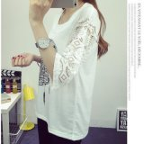 Drucken-T-Shirt der Dame-New Design Lace MID Sleeve
