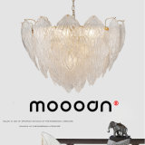 Modern Gold Color Folhas grandes Shell Hand Blown Glass Chandelier