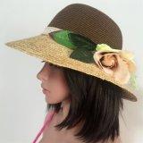 100% de papel Sombrero de paja, Moda Contraste Estilo Col con las flores de la decoración
