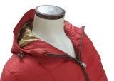 Revestimento vermelho Windproof impermeável do OEM do lazer de Hoody do inverno das mulheres para baixo