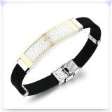 De rubber Armband van het Silicone van de Juwelen van het Roestvrij staal van de Armband (LB218)