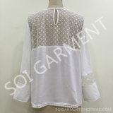 Long chemisier de Crepe de rayonne de chemise de mode avec le lacet de coton