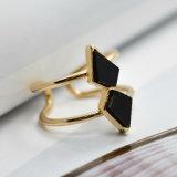 Anéis de pedra naturais ajustáveis abertos do preto Crack branco