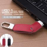 Ledernes USB-Blitz-Laufwerk mit freiem Schlüsselfeder-Laufwerk des sucher-8GB 16GB