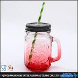 Vaso di muratore operato della bottiglia di vetro con la maniglia