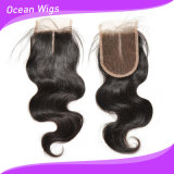Chiusura brasiliana superiore del merletto dei capelli 3.5*4 di Remy del Virgin (CL-015)