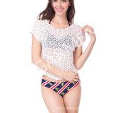 夏女性(BL-261)のための短い様式の不足分の袖のかぎ針編みのブラウス