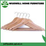 Ganchos de roupa cor-de-rosa de madeira com ombro entalhado (WHG-A12)