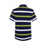 Uomini su ordinazione della maglietta di polo dello sfiato del lato del collare della nervatura del ricamo delle bande 3D di estate 2016