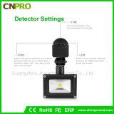 Projectores impermeáveis ao ar livre do diodo emissor de luz do sensor de movimento do rádio 10W PIR
