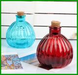 Garrafa de aromaterapia de vidro transparente com dissipador de junco