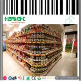 Prateleira do canto do indicador da mercearia para o supermercado