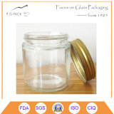 contenitore di vetro rotondo del vaso dell'ostruzione 4oz con la protezione del metallo