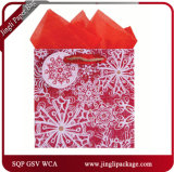 Jingle Bell Christmas Gift Paper Bags with Silver Stamping and Hang Tag