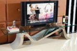 販売のためのガラス上TVの金張り贅沢なデザインキャビネット