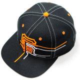 Schwarze Hip Hop-Schutzkappe mit orange 3D Embroiderey (JRE111)