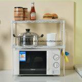 Crémaillère universelle de four microondes à cuisine en métal blanc avec des roues