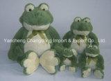 プラシ天の緑の子供のカエルの皮