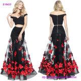 Vestido de noche de dos piezas de la sirena de la venta caliente con una falda Appliqued de la flor y de la blusa del hombro