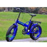 48V 750W 20 '' faltbares E Fahrrad, das fetter Gummireifen-Strand-Schnee-elektrisches Fahrrad faltet