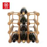 4 cremagliera di visualizzazione della bottiglia di vino di legno solido della bottiglia di strato 12