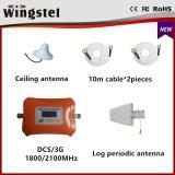 2017 impulsionador móvel duplo do sinal da faixa Dcs/3G 1800/2100MHz do projeto novo com antena