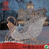 白く大きい屋外の第2装飾の父のそりのクリスマスのモチーフのトナカイライト