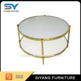 Tableau de thé rond à deux niveaux de meubles chinois modernes avec du marbre