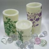 Pilar patrón impreso de plástico de color marfil Vela con caliente suave parpadeo de la luz blanca